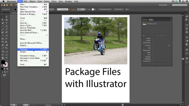 Bundling a Package in Adobe Illustrator CS6