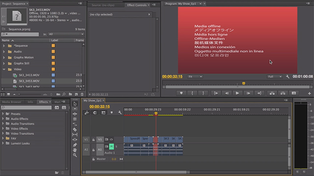 Relinking Media in Adobe Premiere Pro