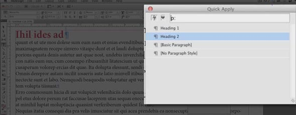 Quick Apply in InDesign CS5