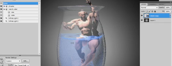 Refraction in Photoshop 3D