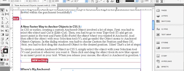 Anchoring Objects in InDesign CS5.5
