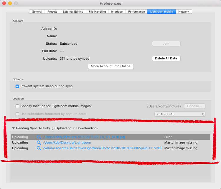 Image result for lightroom sync activity