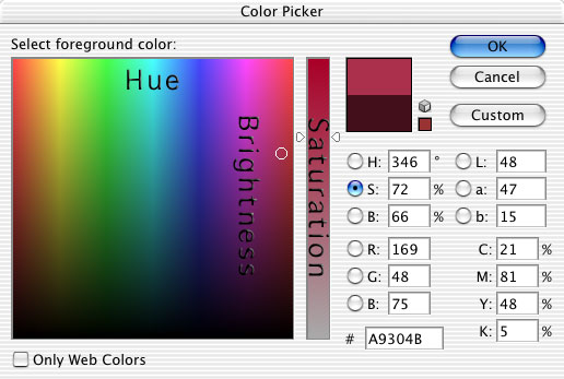 how to change hue indesign