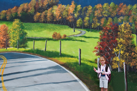 """Hitchhiking On A Mural"" By Hugh Smith (Burnsville, North Carolina)sm"