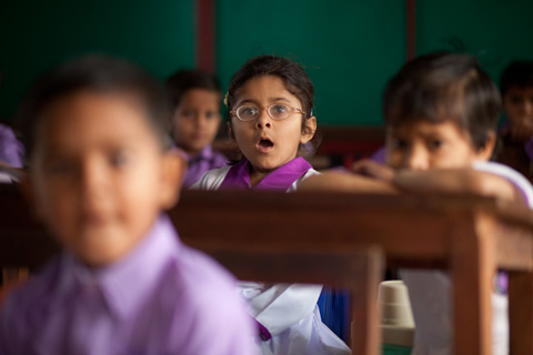 Young Pakistani girl at a school in Punjab Pakistan.