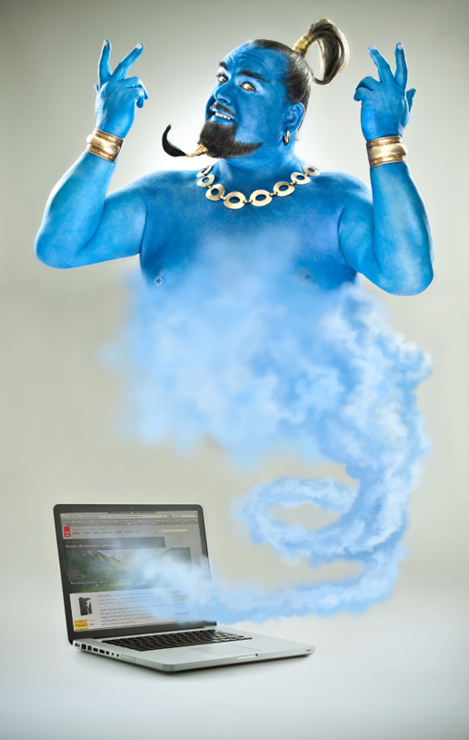 Blue genie goes out of the laptop