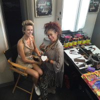 Our model Dani and Zee our Hair/Make up Artist in the Production Trailer
