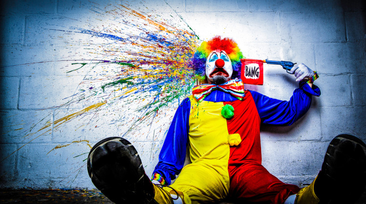tears of a clown: a satirical look at depression showing that even though many appear happy on the outside, they might be struggling with larger issues below the surface. It is not a glorification of suicide by any means, rather a way to hopefully start a dialog about mental issues
