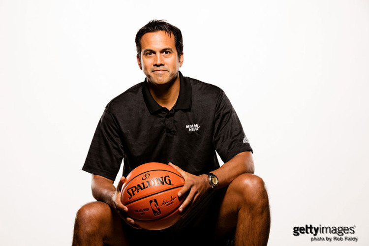MIAMI, FL - SEPTEMBER 28: Head coach Erik Spoelstra of the Miami Heat poses for a portrait during media day at AmericanAirlines Arena on September 28, 2015 in Miami, Florida. (Photo by Rob Foldy/Getty Images)