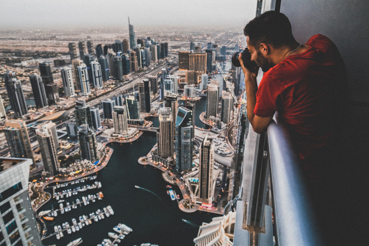 Photographer Jeff Lombardo photograph's Dubai Marina from the Princess Tower in Dubai, the Tallest Residential Building in the World.