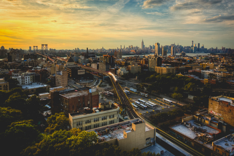 Sunset in Brooklyn, New York overlooking Manhattan (Photo by Jeff Lombardo)