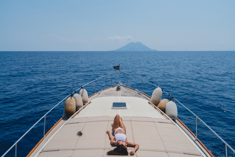 Yachting through the Mediterranean Sea with a view of an active volcano in Stromboli. (Photo by Jeff Lombardo)