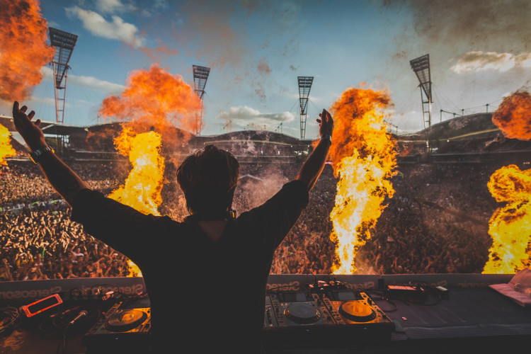 Sebastian Ingrosso performs under fire at Stereosonic 2013 in Sydney, Australia (Photo by Jeff Lombardo)