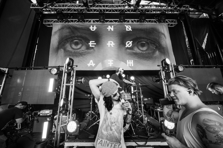 Spencer Chamberlain and Aaron Gillespie of Underoath prepare for soundcheck on March 16, 2016 at Jannus Live in St. Petersburg, Florida