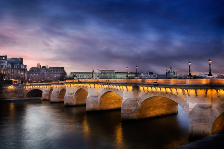 This is the Pont Neuf Bridge in Paris with a nice sky.
